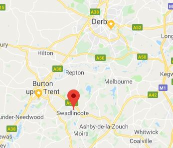 Map showing plumber in Swadlincote, Burton on Trent and Derby area - perfect for new boilers, boiler servicing and all plumbers in Swadlincote needs